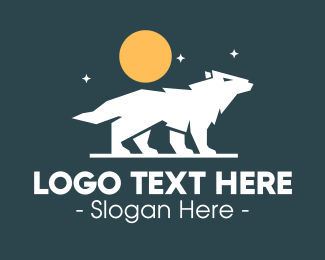 Nighttime - Night Wolf Howl logo design