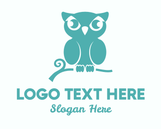 Yellow Feather - Teal Owl logo design