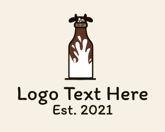 Dairy Farmer - Cow Milk Bottle logo design