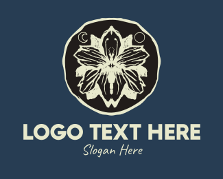 Herbal Products - Rustic Flower Butterfly Badge logo design