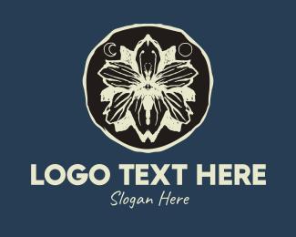 Full Moon - Rustic Flower Butterfly Badge logo design