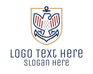 Coat Of Arms - American Eagle Anchor Badge logo design