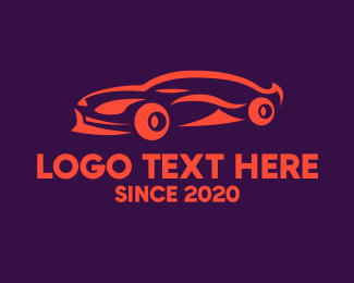 Sports Car Rental - Modern Orange Sports Car  logo design