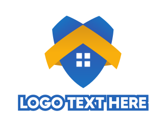 Burglar Alarm - Blue House Shield logo design