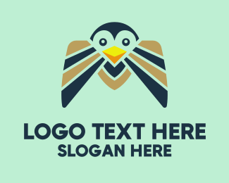 Blue Penguin - Happy Bird logo design