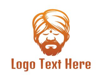 Man - Sleeping Turban Man logo design