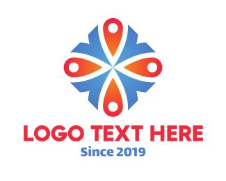 Maps - Blue & Orange Diamond Flower logo design