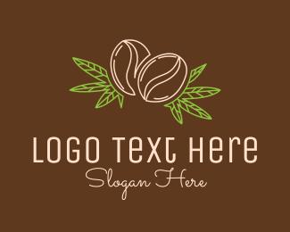 Roasted - Coffee Bean Weed Leaf logo design