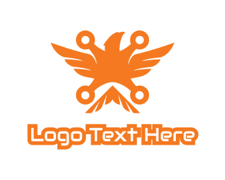 Orange Drone Eagle Logo