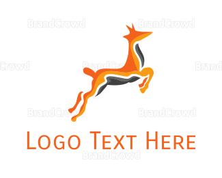 Jump - Abstract Orange Gazelle logo design
