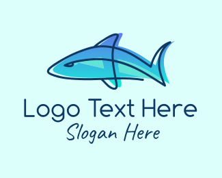 Fisheries - Blue Line Art Shark logo design