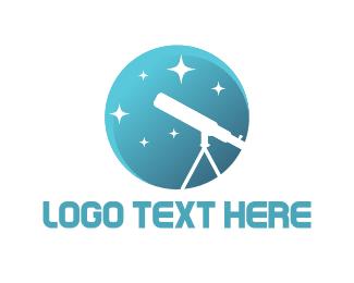 Astronomy - White Telescope logo design