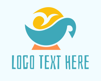 Swimming Pool - Tropical Coffee logo design