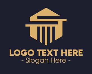 Architect - Elegant Hexagon Pillar logo design