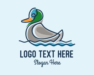 Duck - Minimalist Mother Duck logo design