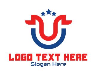 Politician - Letter U Ribbon logo design