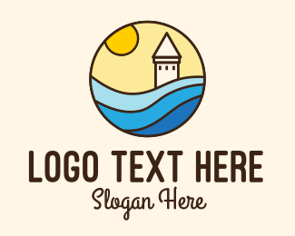 Beach Resort - Stained Glass Lighthouse Resort logo design
