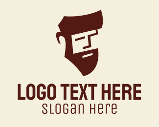 Model - Handsome Beard Man logo design