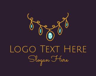 Simplistic - Gold Necklace Jewelry logo design