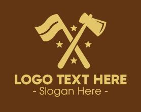 Handmade - Flag & Axe logo design