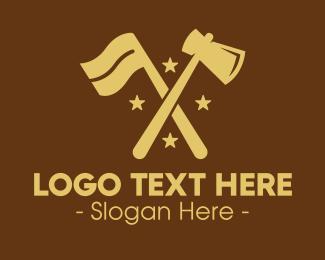 Carpentry - Flag & Axe logo design
