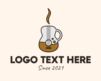Musical School - Coffee Guitar Mug logo design