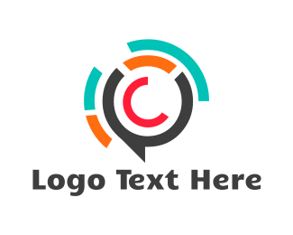 Speech Bubble - Bubble Letter C logo design