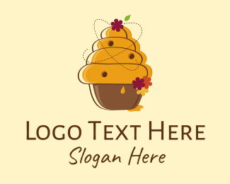 Yellow Cupcake - Honeycomb & Flowers logo design