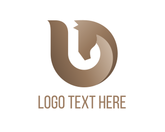 Letter U - Brown Abstract Horse logo design