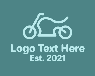 Biker - Blue Minimalist Motorcycle  logo design