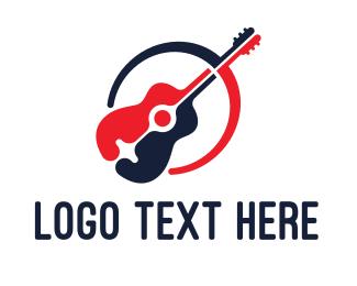 Acoustic - Red Blue Guitar logo design