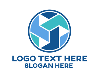 Initial - Business Company Blue Circle logo design