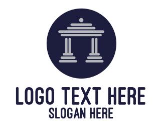 Court House - Blue House Front  logo design