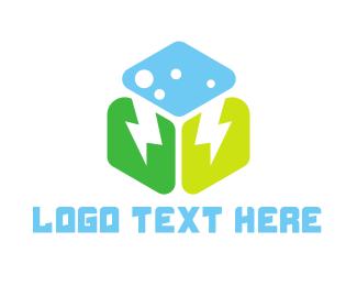 Lightning - Weather Cube logo design