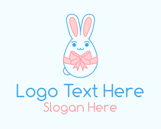 Decorated - Easter Bunny Ribbon logo design