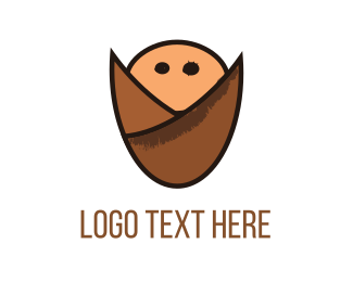 Nut - Cute Baby Seed logo design