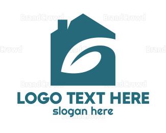 Negative Space - Blue Eco House logo design