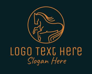 Equestrian - Gold Equestrian Emblem logo design