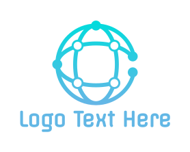 Communications - Global Circuit Globe logo design