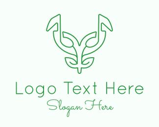 Leaf - Music Mask Plant logo design