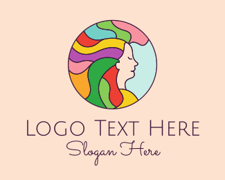 Hair Dye - Rainbow Hair Salon  logo design