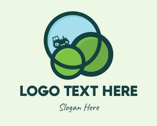 Grass - Green Eco Tractor Farming logo design