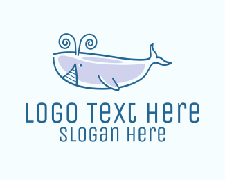 Fisheries - Blue Happy Whale logo design