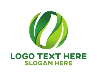 Ecological - Green Leaves Circle logo design