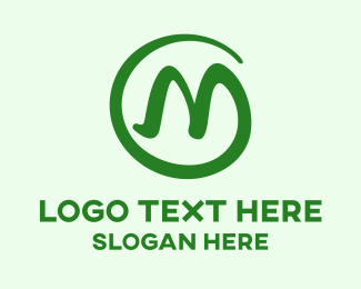 Handwritting - Round Stroke M logo design