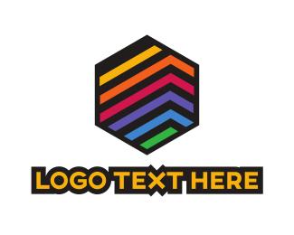 Publishing - Colorful Stripe Hexagon logo design