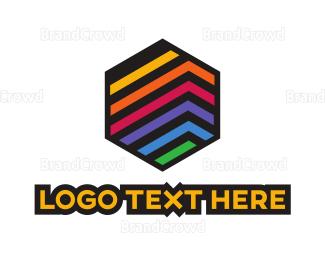 Engineering - Colorful Stripe Hexagon logo design