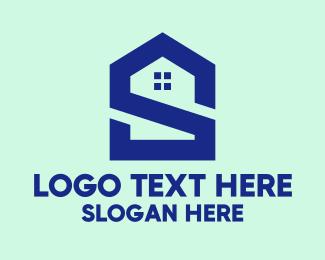 Intial - S Shape Polygon House  logo design