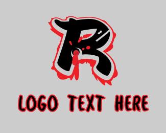 Bullet Hole - Splatter Graffiti Letter R logo design