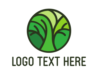 Trees - Green Round Tree Pattern logo design